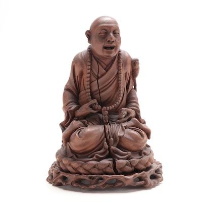 Japanese Carved Boxwood Figure of Hotei on Wood Stand