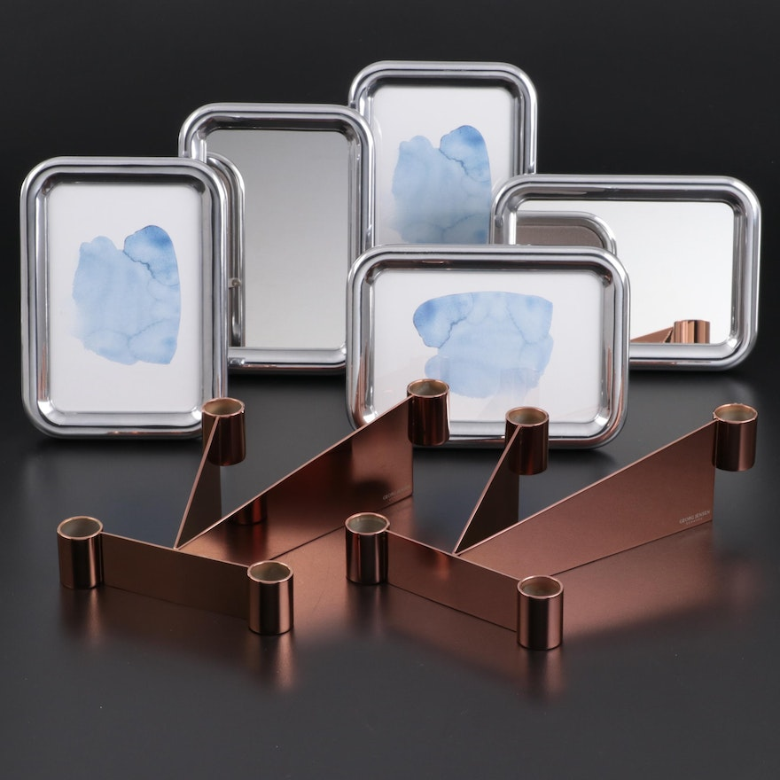 """Georg Jensen """"Urkiola"""" Stainless Candle Holders with Mirrors and Frames"""
