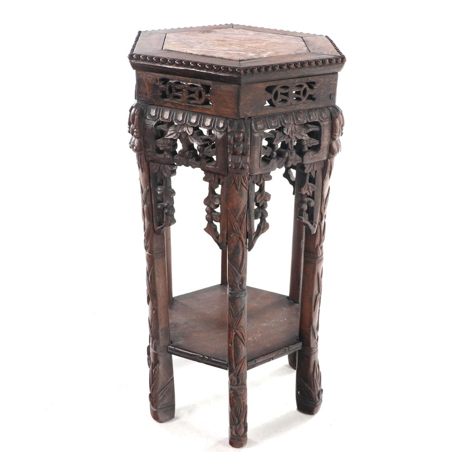Chinese Carved Hardwood and Variegated Marble Side Table