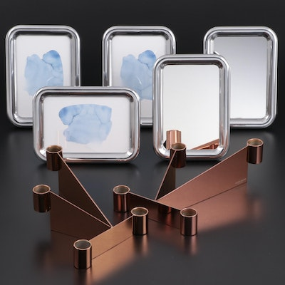 """Georg Jensen """"Urkiola"""" Candle Holders with """"Tableau"""" Mirrors and Frames"""