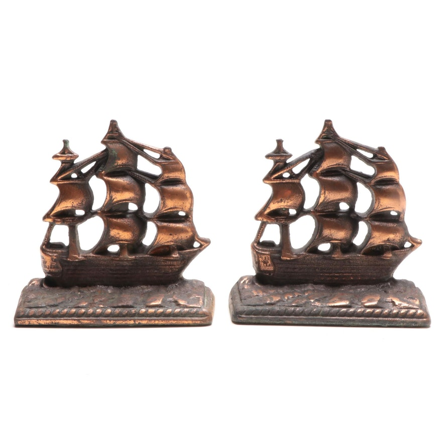 "Copper Washed Cast Iron ""Old Ironside"" Bookends, Mid-20th Century"