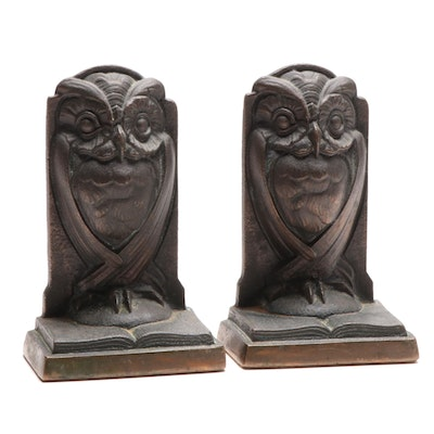 American Cast Bronze Owl Bookends, Early 20th Century