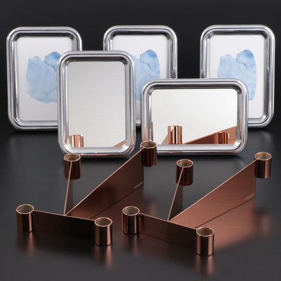"Georg Jensen ""Urkiola"" Candle Holders with ""Tableau"" Mirrors and Frames"