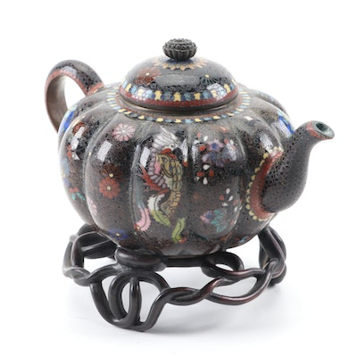 Japanese Cloisonné Pumpkin Shaped Teapot with Wood Stand