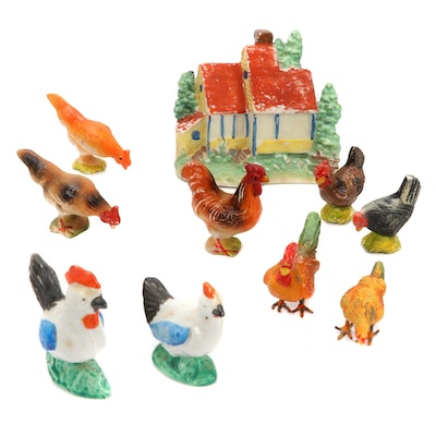 Japanese Composite and Porcelain Chicken Figurines with Barn, Mid-20th C