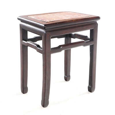 Chinese Hardwood and Variegated Marble Side Table