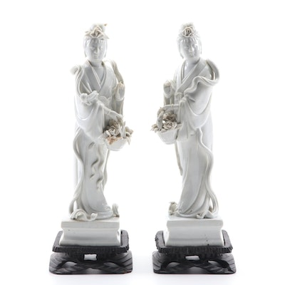 Pair of Chinese Dehua Figures of Guanyin Carrying Flowers on Wood Stands