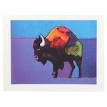 "John Nieto Serigraph ""Buffalo Dancing the Two-Step in the Sunset"""