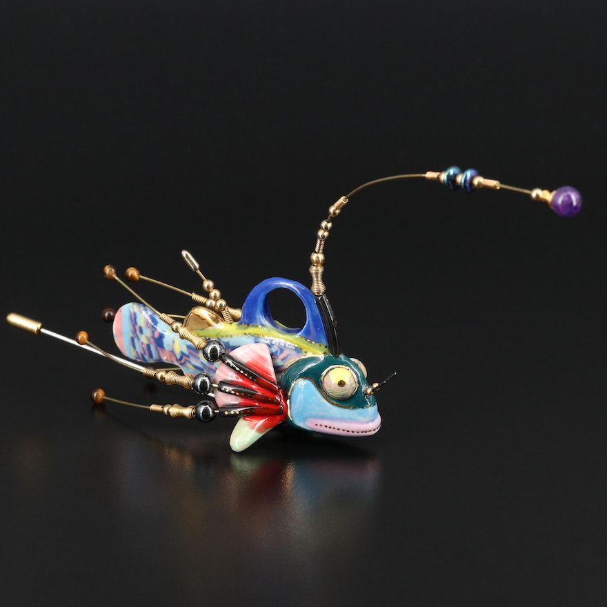 Cynthia Chuang Large Scale Porcelain Angler Fish Stick Pin