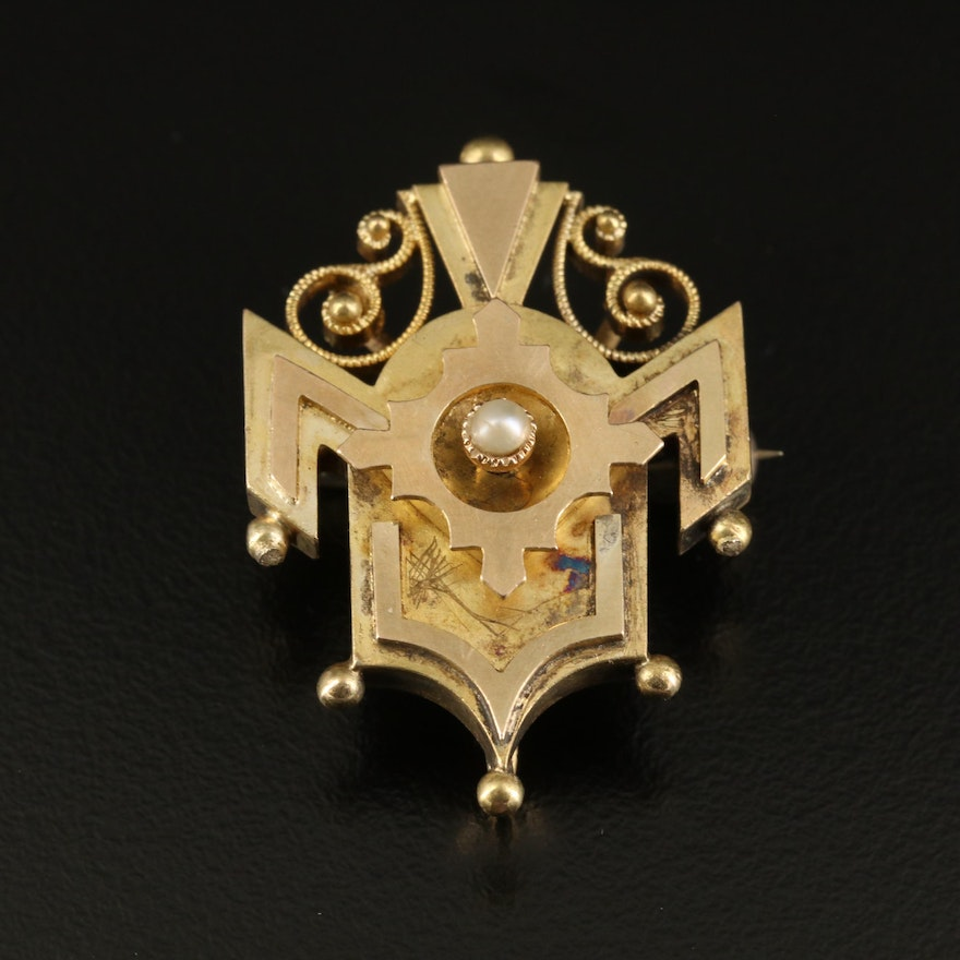 Antique 14K Seed Pearl Converter Brooch