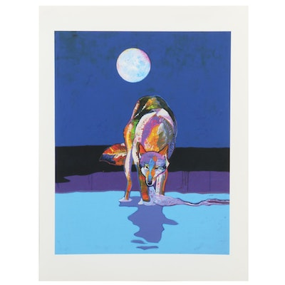 "John Nieto Serigraph ""Wolf Drinking Water by Moonlight"""