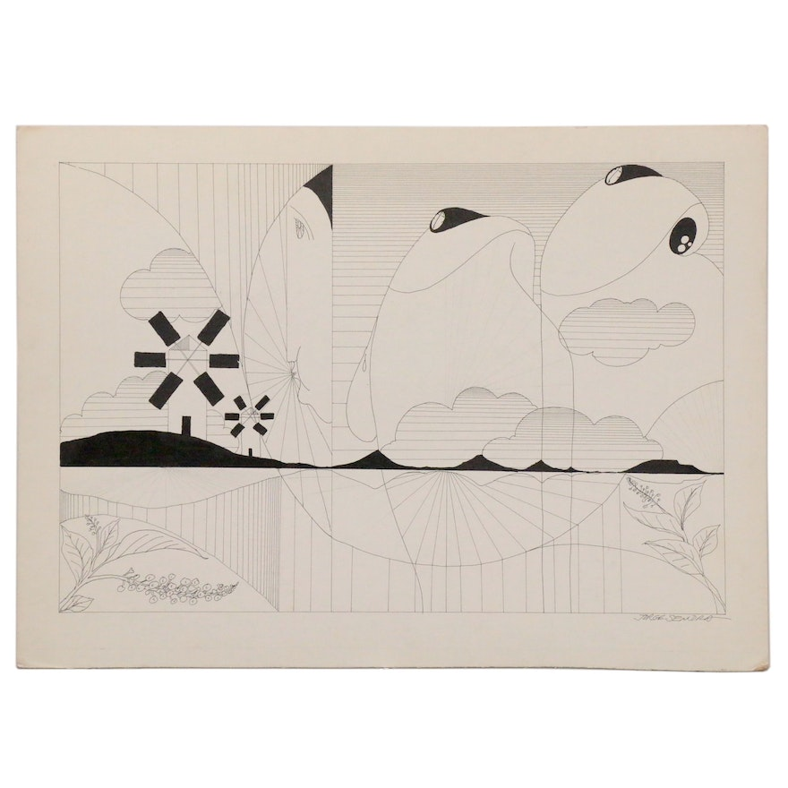 Jorge Sendra Ink Drawing of Abstract Pastoral Landscape with Windmills