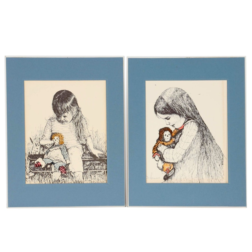 Don Russel Hand-Colored Lithographs of Young Girl with Doll, Late 20th Century
