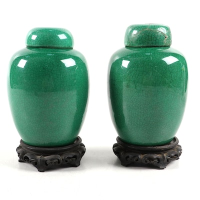 Pair Chinese Green Glazed Porcelain Ginger Jars on Wood Stands