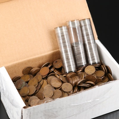 Over 1350 Lincoln Wheat Cents Including Steel Cents, 1909-1957