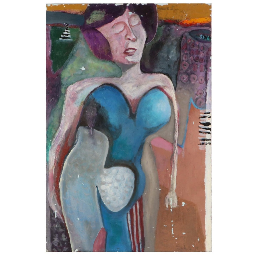 """Janice Schuler Mixed Media Painting """"She's Buying a Stairway to Heaven,"""" 2015"""