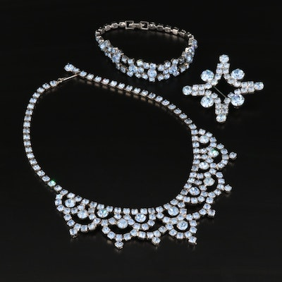 Rhinestone Brooch, Bracelet and Princess Necklace