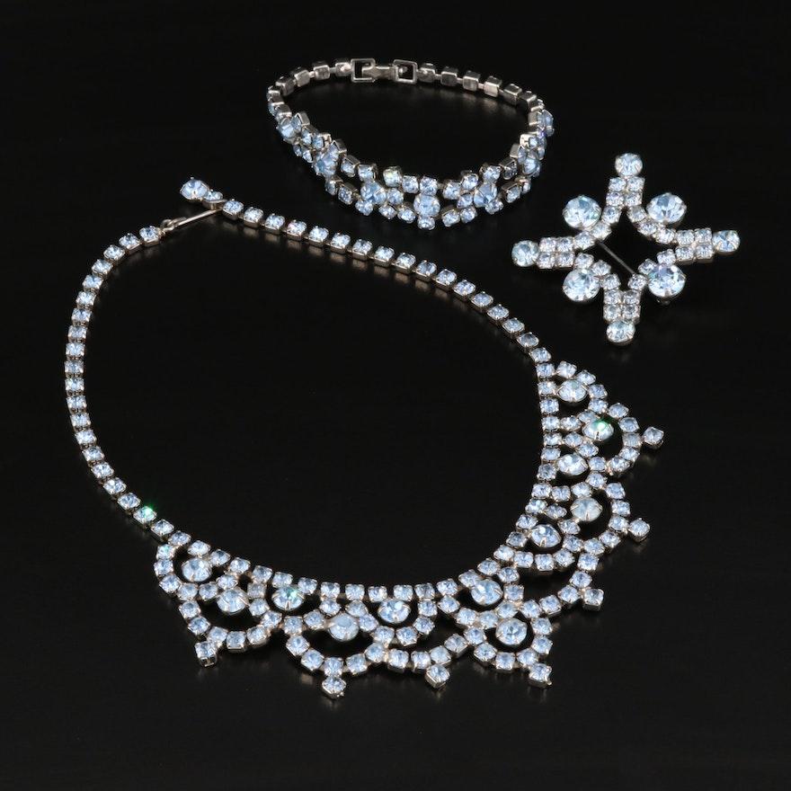 Rhinestone Brooch, Bracelet and Princess Necklace