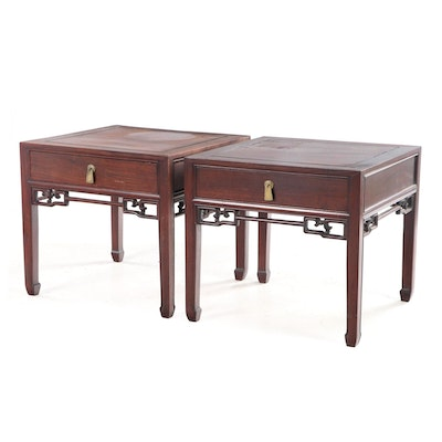 Pair of Chinese Huali Side Tables