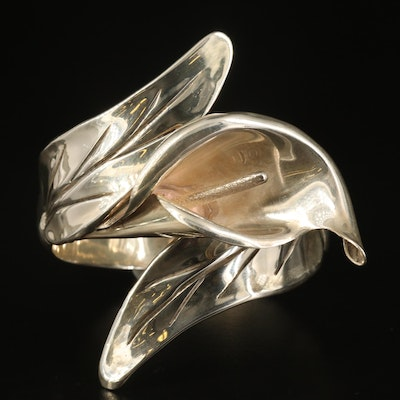 Vintage Mexican Sterling Calla Lily Bypass Clamper