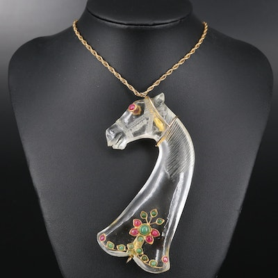 Vintage Rock Crystal Quartz Horse Necklace with Ruby and Emerald Accents