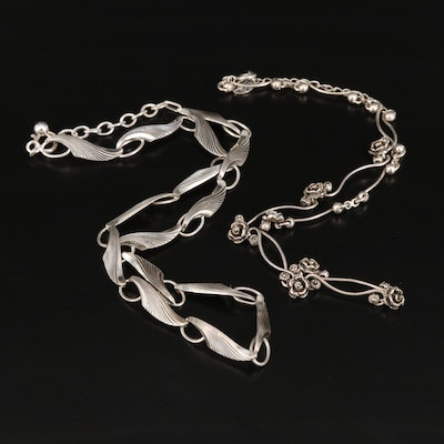 Sterling Marcasite Rose Link Necklace and 835 Silver Leaf Link Necklace