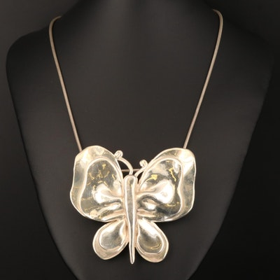 Sterling Butterfly Converter Pendant Necklace