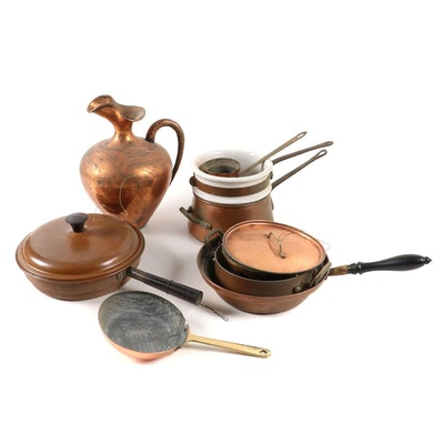 B&M Douro, S. Steamau and Other Copper Cookware with Hammered Pitcher
