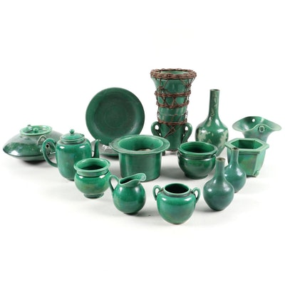 Chinese and Japanese Green Glazed Pottery Tableware and Décor