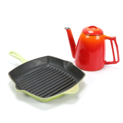 Le Creuset Palm Enameled Cast Iron Grill Pan with Descoware Coffee Pot