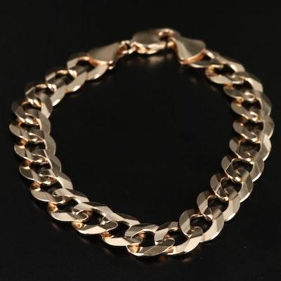 14K Faceted Curb Link Bracelet
