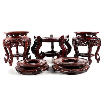 Chinese Carved Hardwood Display Stands