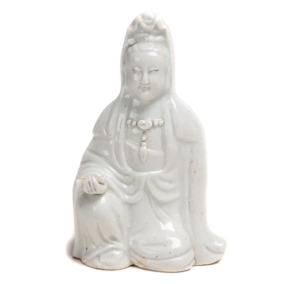 Chinese Blanc de Chine Porcelain Figurine of Seated Guanyin