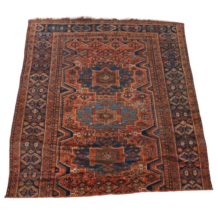 6'8 x 8'2 Hand-Knotted Persian Afshar Wool Area Rug