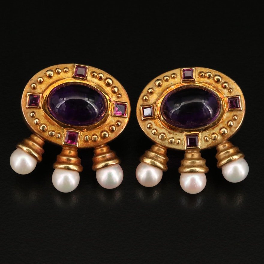 """SeidenGang """"Athena"""" Byzantine Style 18K Amethyst, Ruby and Pearl Earrings"""