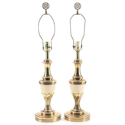 Pair of Stiffel Cream Ceramic and Brass Table Lamps with Shou Finials