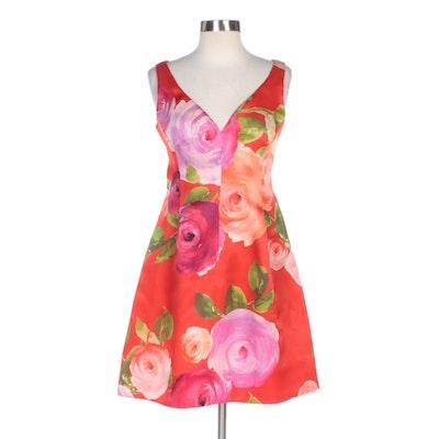 Red Floral Print Princess Seam Sleeveless Dress