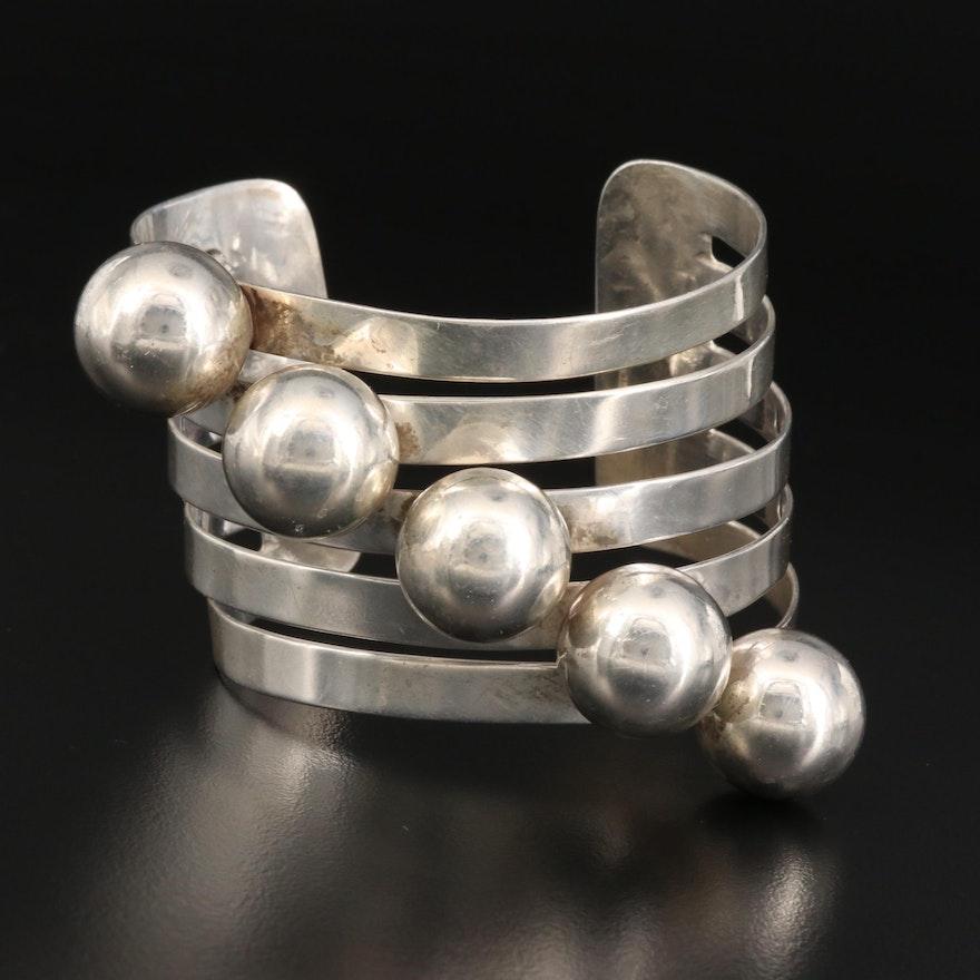 Modernist Sterling Silver Geometric Cuff