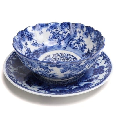 Chinese Blue and White Plate and a Bowl