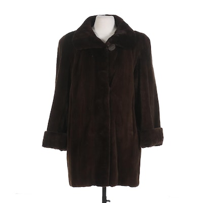 Sheared Mink Fur Stroller Coat with Turned Back Cuffs