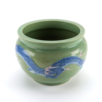 Japanese Dragon Motif Glazed Ceramic Jardiniere