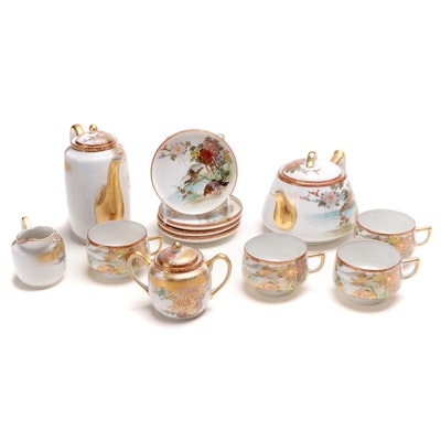 Japanese Satsuma and Gilt Landscape Tea Set
