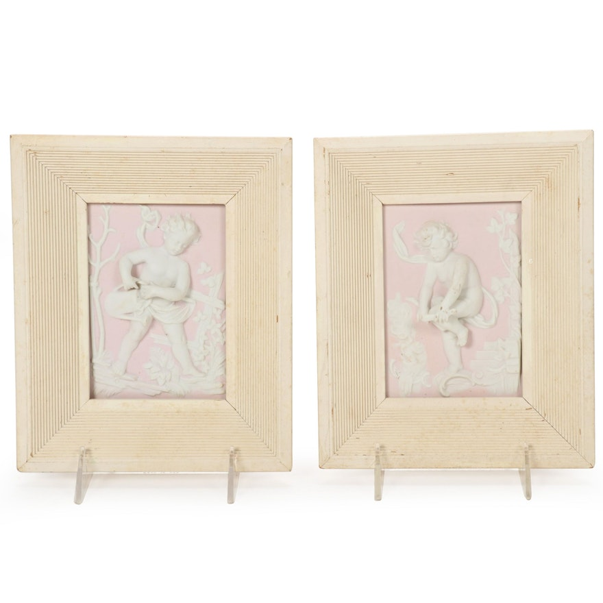 Porcelain Dimensional Framed Angels, Mid to Late 20th Century