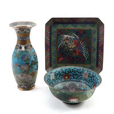 Chinese Cloisonné Vase, Bowl, and Tray