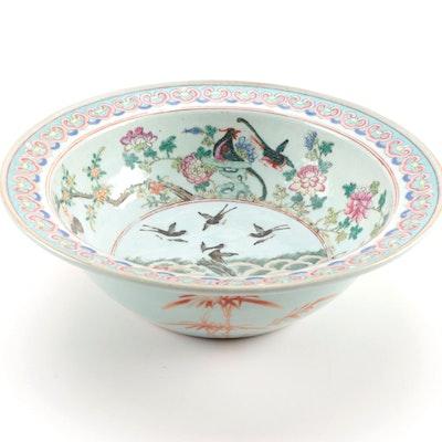 Chinese Polychrome Enameled Porcelain Basin Bowl