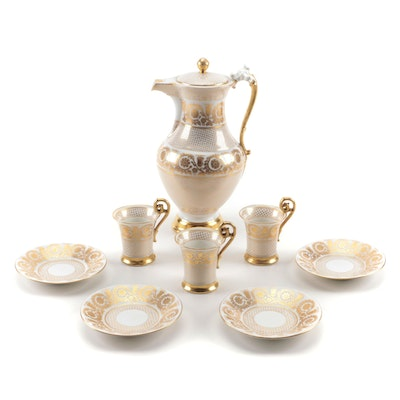 Tressemann & Vogt Encrusted Porcelain Chocolate Pot, Cups, and Saucers