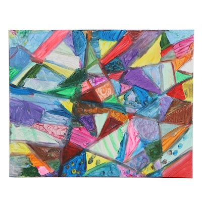 "Mako and Stamatia Colorful Acrylic Painting ""A Painting of Shapes"""