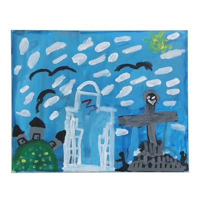 Alex (Age 6) Cityscape Acrylic Painting