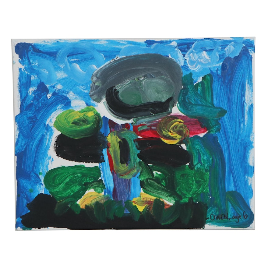 Owen (Age 6) Abstract Acrylic Painting