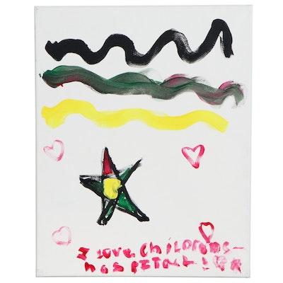 "Adeline (Age 7) Star ""I Love Children's Hospital!"" Acrylic Painting"